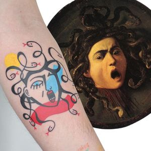 Illustrative tattoo by Yannick NorY aka YNY aka Les Niaiseries #YannickNorY #LesNiaiseries #illustrative #linework #abstract #expressive #symbolism #medusa #caravaggio #painting #snakes #portrait