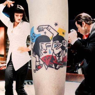 Illustrative tattoo by Yannick NorY aka YNY aka Les Niaiseries #YannickNorY #LesNiaiseries #illustrative #linework #abstract #expressive #symbolism #pulpfiction #umathurman #johntravolta #quentintarantino