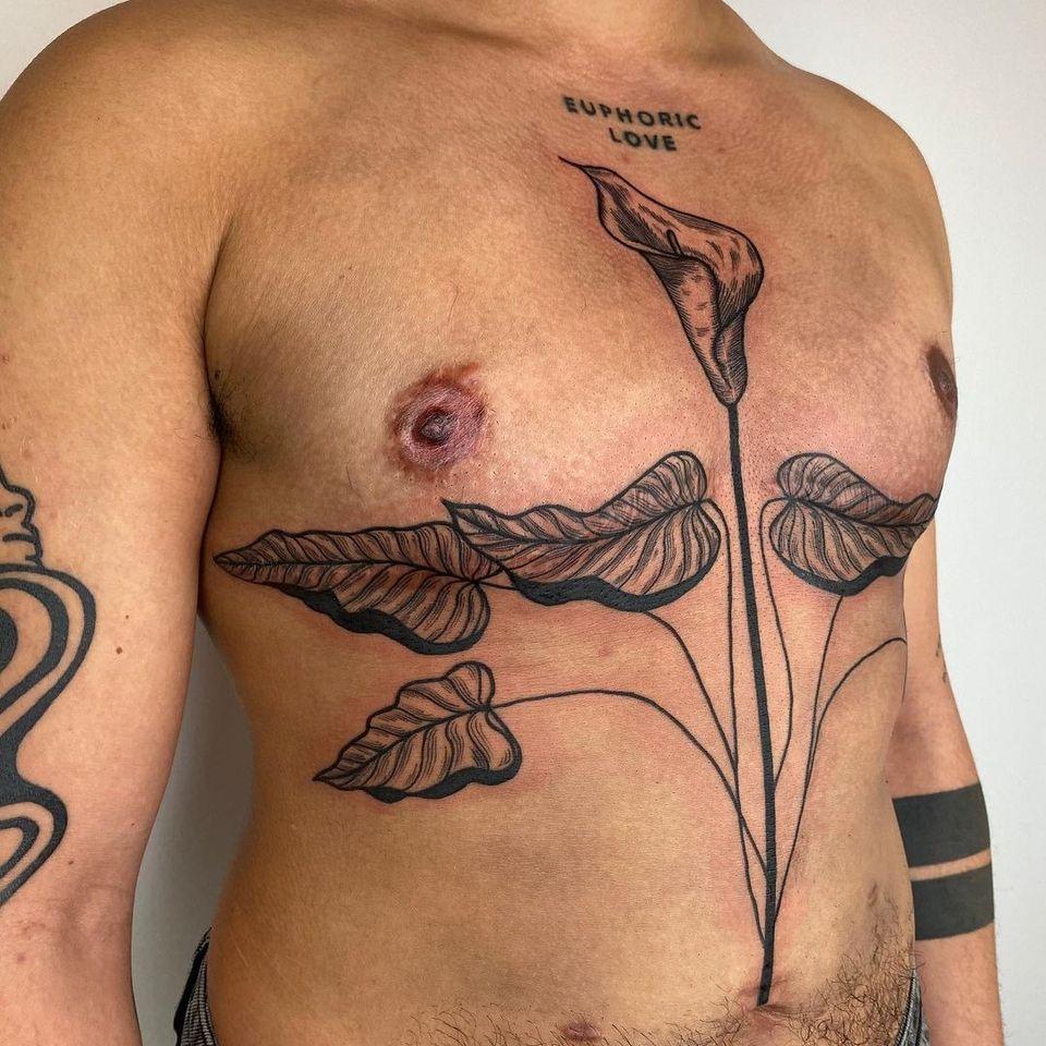 Top surgery tattoo by Addy Engeman aka stabsnscabs #AddyEngeman #stabsnscabs #topsurgerytattoo #leaves #leaf #plant #nature