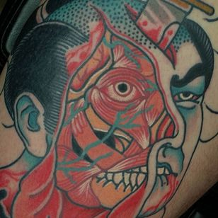 Tattoo by Sven Anholt #SvenAnholt #Anholttattoo #japanese #namakubi #muscles #anatomy #sword #blood