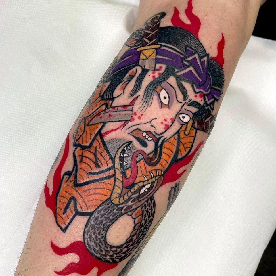 Namakubi and snake tattoo by jjjuliachan #jjjuliachan #namakubi #snake #fire #severedhead #blood #japanese