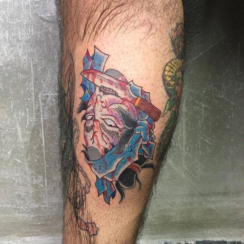 Namakubi tattoo by Mario Esplaor #MarioEsplaor #namakubi #severedhead #japanese #blood #dagger