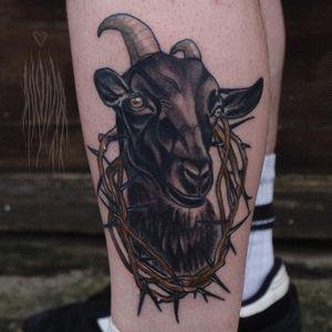 Tattoo by Akuma Shugi #AkumaShugi #neotraditional #darkart #goat #thorn #animal #nature