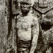 Haida Chief Xa'na showing grizzly bear tattoo on his chest #tattootools #tattoosupplies #tattoohistory #tattooculture #Haida