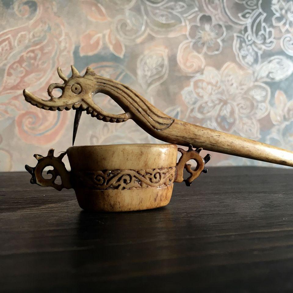 Dayak tattoo needle, holder, and ink cup. #Dayak #borneo #tattootools #tattoosupplies #tattoohistory #tattooculture