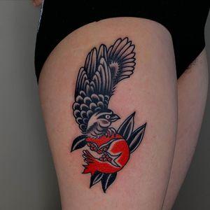 Tattoo by Sema Dayoub #semadayoub #nassimdayoub #traditionaltattoo #qttr #queertattooer #bird #feathers #wings #pomegranate #fruit