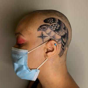 Tattoo by Sema Dayoub #semadayoub #nassimdayoub #traditionaltattoo #qttr #queertattooer #falcon #bird #scalp #sideofhead #star