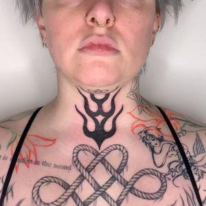 Tattoo by Sema Dayoub #semadayoub #nassimdayoub #traditionaltattoo #qttr #queertattooer  #fire #flame #neck
