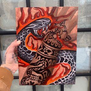Painting by Sema Dayoub #semadayoub #nassimdayoub #traditionaltattoo #qttr #queertattooer