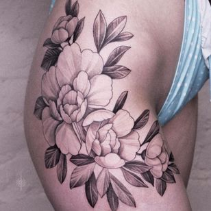 Tattoo by Alena Zozulenko #AlenaZozulenkoo #illustrative #blackandgrey #flowers #floral #peony #rose #hip #plant #nature