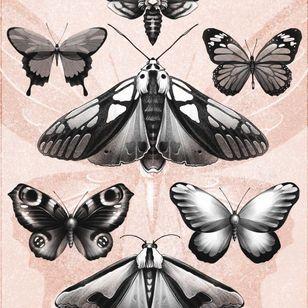 Tattoo flash by Alena Zozulenko #AlenaZozulenkoo #illustrative #blackandgrey #butterfly #moths