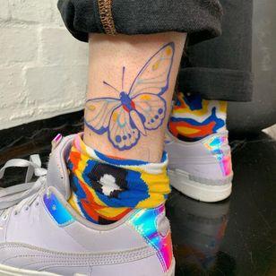 Butterfly tattoo by castrating banshee bitch #castratingbansheebitch #butterfly #color #queertattoo #qttr #pridetattoo #lgbtqiatattoo #lgbtqtattoo