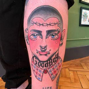 Tattoo by coltonjamestattoo #coltonjamestattoo #portrait #newschool #anime #manga #goodboy #barbedwire #heart #queertattoo #qttr #pridetattoo #lgbtqiatattoo #lgbtqtattoo