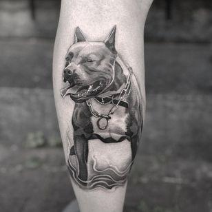 Pitbull tattoo by wisekidtattoo #wisekidtattoo #pitbull #blackandgrey #dogtattoo #dog #petportrait #animal
