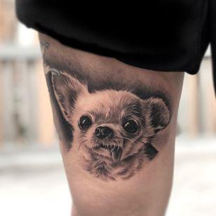 Chihuahua tattoo by zinktattoozac #zinctattoozac #chihuahua #dogtattoo #dog #petportrait #animal