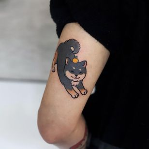 Shiba Inu tattoo by loveyoon.too #loveyoontoo #shibainu #dogtattoo #dog #petportrait #animal