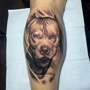Pitbull tattoo by torrestattoo #torrestattoo #pitbull #blackandgrey #realism #dogtattoo #dog #petportrait #animal