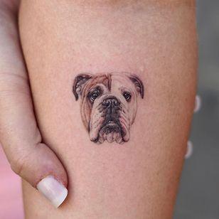 Bulldog tattoo by w_inkstudio #winkstudio #bulldog #realism #microportrait #mini #tiny #dogtattoo #dog #petportrait #animal