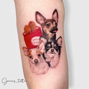 Chihuahua tattoo by grreens_tattoo #greenstattoo #chihuahua #dogtattoo #dog #petportrait #animal