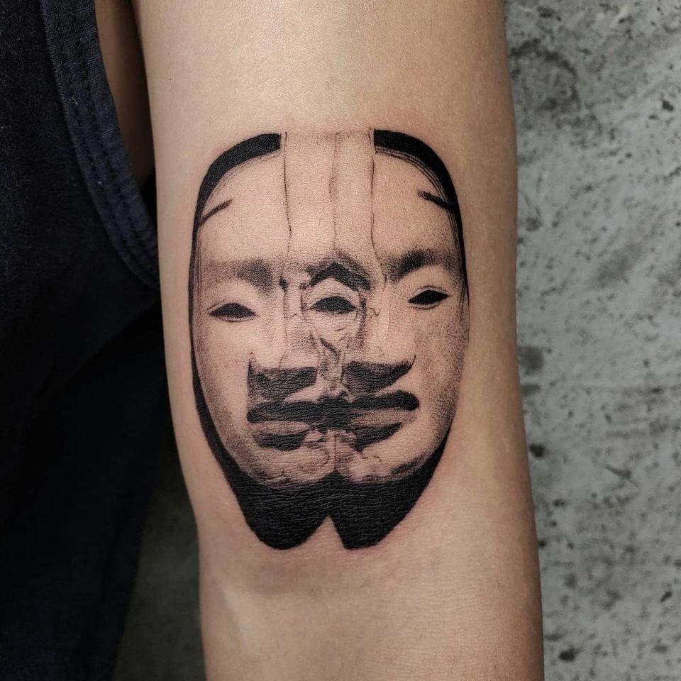 Illustrative tattoo by Kristianne aka krylve #kristianne #krylev #illustrative #nohmask #noh #MotohikoOdani #mask #surreal #darkart