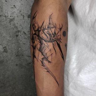 Illustrative tattoo by Kristianne aka krylve #kristianne #krylev #illustrative #monster #manga #anime #demon #darkart