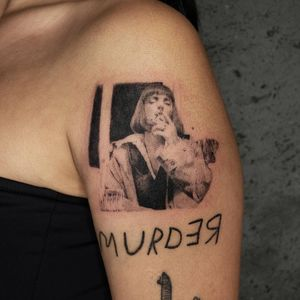 Illustrative tattoo by Kristianne aka krylve #kristianne #krylev #illustrative #pulpfiction #umathurrman #miawallace #movie #film