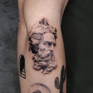 Illustrative tattoo by Kristianne aka krylve #kristianne #krylev #illustrative #sculpture #nepture #poseidan