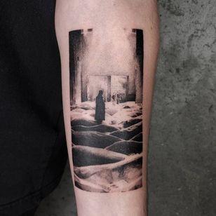 Illustrative tattoo by Kristianne aka krylve #kristianne #krylev #illustrative #stalker #film #movie #tarkovsky #surreal