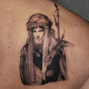 Illustrative tattoo by Kristianne aka krylve #kristianne #krylev #illustrative #YoshitakaAmano #anime #manga #portrait