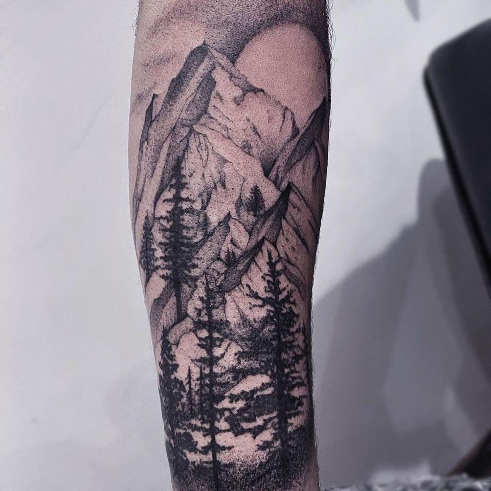 Mountain tattoo by audenita #audenita #landscapetattoo #landscape #nature #mountain #trees #sun #dotwork