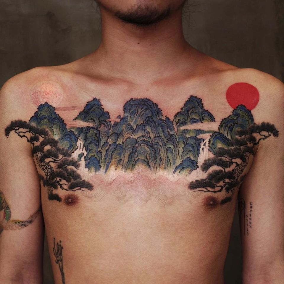 Landscape chest tattoo by Moon Cheon #MoonCheon #landscape #nature #mountains #trees