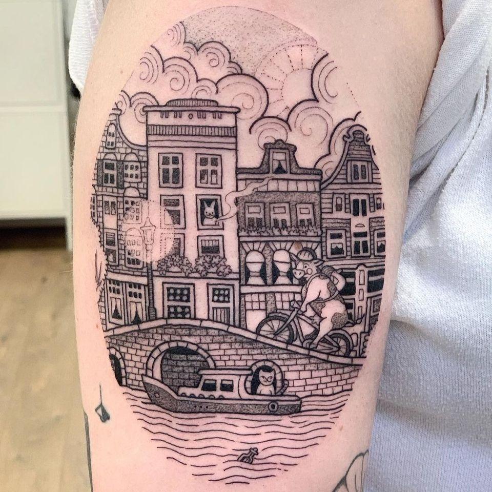 Illustrative landscape tattoo by Suflanda #Suflanda #landscape #nature #city #illustrative #building #architecture #animals #boat #canal #bridge #cute