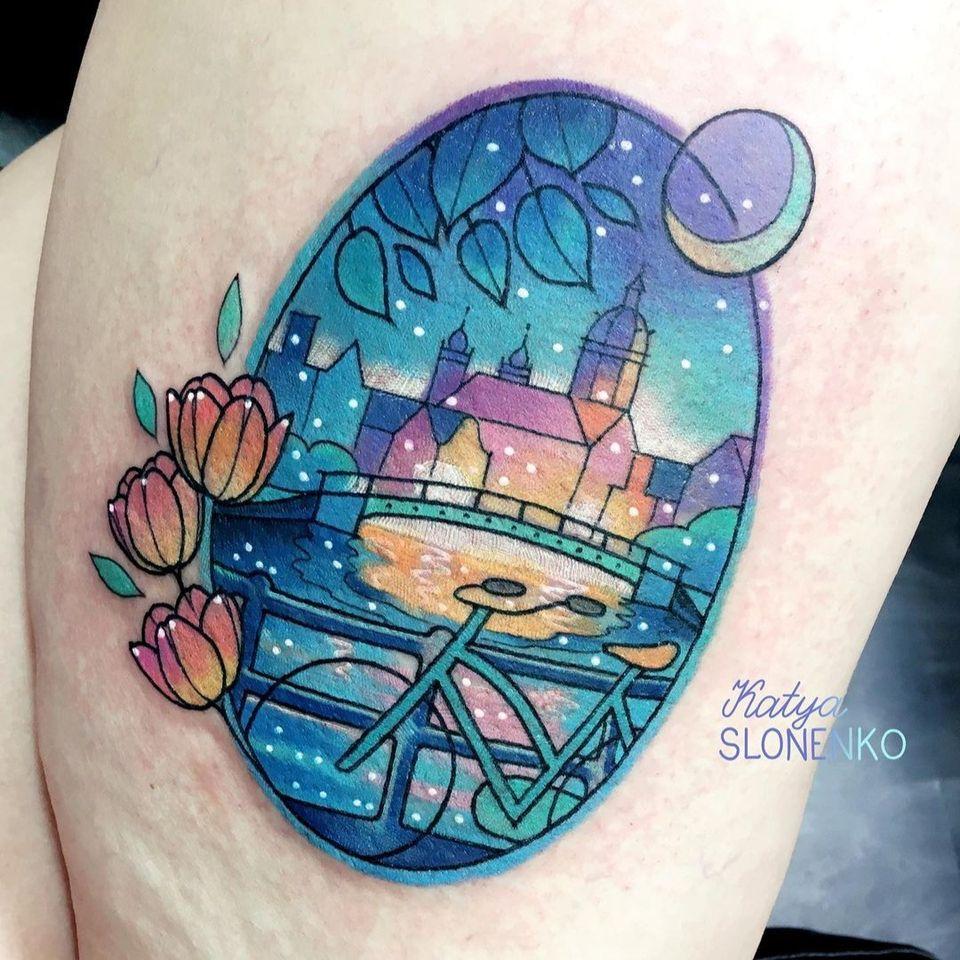 Cityscape tattoo by Katya Slonenko #katyaslonenko #landscapetattoo #landscape #nature #cityscape