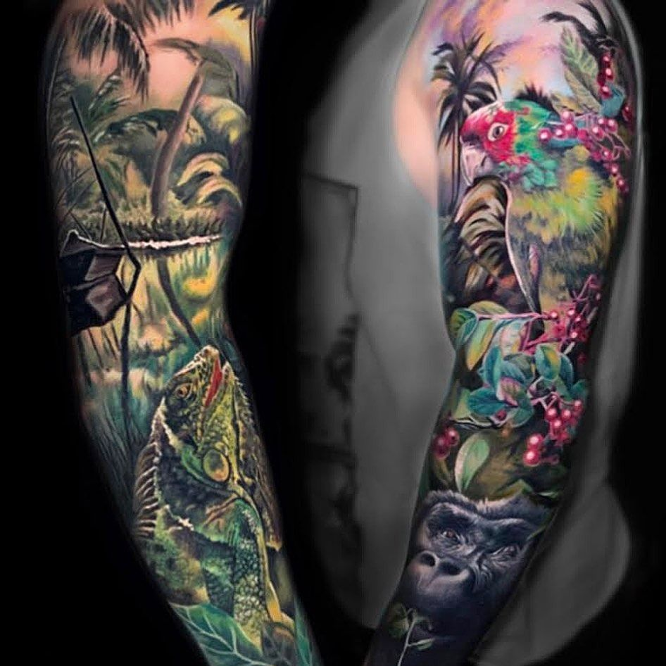 Jungle tattoo by Paul Rosenberg #PaulRosenberg #landscapetattoo #landscape #nature #jungle #Monkey #parrot #chameleon #trees #color #realism