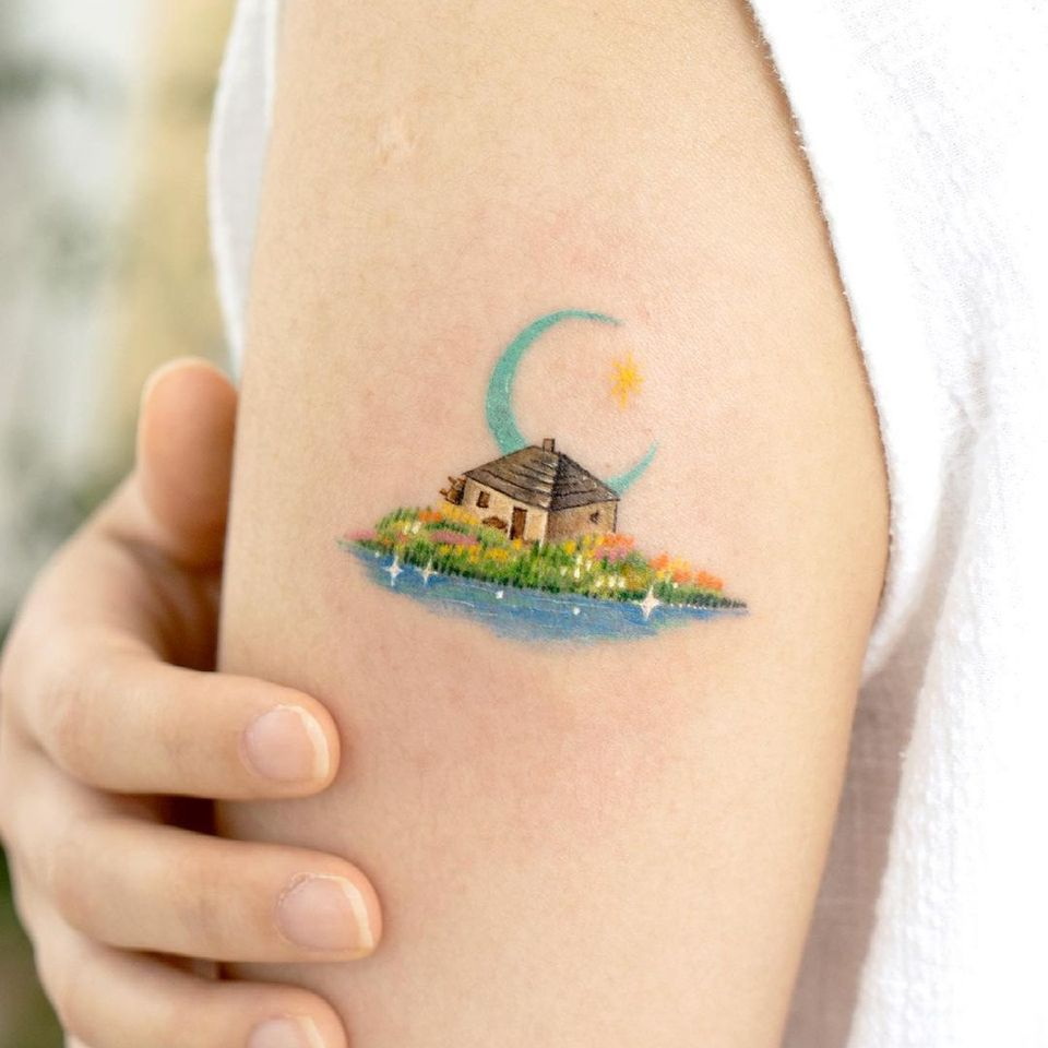 Watercolor landscape tattoo by Ovenlee #ovenlee #watercolor #landscape #nature #anime #manga #howlsmovingcastle #cottage #studioghibli #house #architecture #building #moon #star