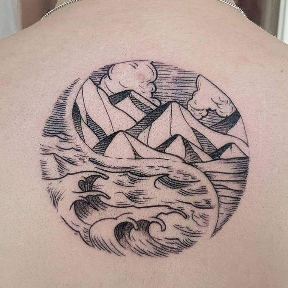 Landscape back tattoo by bastardsica #bastardsica #backtattoo #landscapetattoo #landscape #nature #mountains #wave #ocean #yinyang #line #illustrative