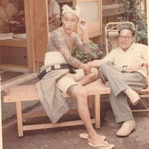 """Tokyo tattooer Horigorō II (on the left) and Akimitsu Takagi on the right), ca. 1955. A.T personal collection."" - Via Pascal Bagot #AkimitsuTakagi #PascalBagot #japanesetattoo #tattooculture #tattooart"