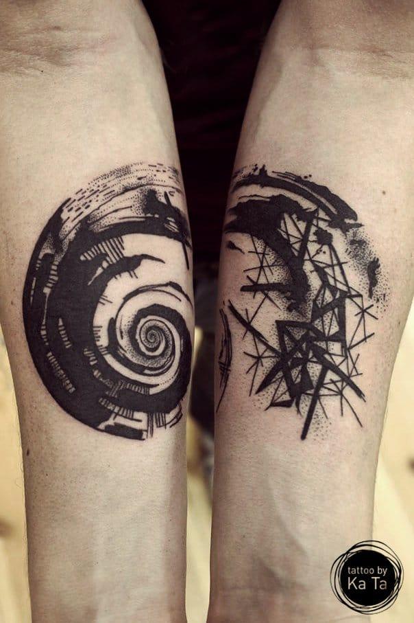 Graphic tattoo by Ka Ta.