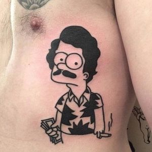 Pablo Escobart. Via Instagram @dicky1981 #Dicky #TheSimpsons #SimpsonsTattoo #Simpsons #Funny #Bart #PabloEscobar