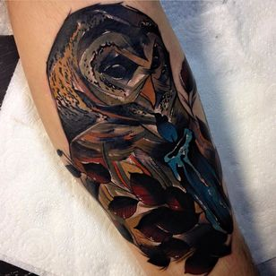 Graphic tattoo by Phil Wilkinson #graphicowl #owl #owltattoo #PhilWilkinson