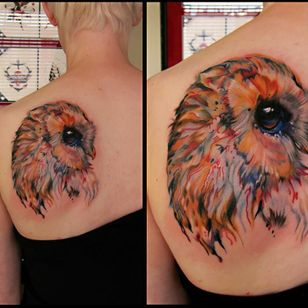 Watercolor owl tattoo by Kel Tait #watercolor #owl #color #keltait