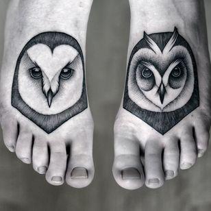 Elegant feet tattoos by Kamil Czapiga... #blackwork #dotwork #KamilCzapiga