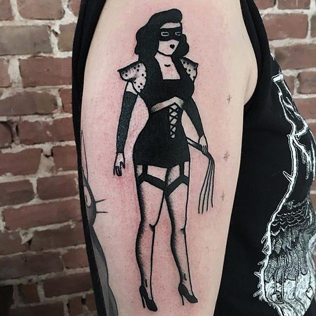 A little blackwork BDSM from Katya Krasnova. #blackwork #dominatrix #feminist #KatyaKrasnova #pinup #traditional #vintage #illustrative #blackink
