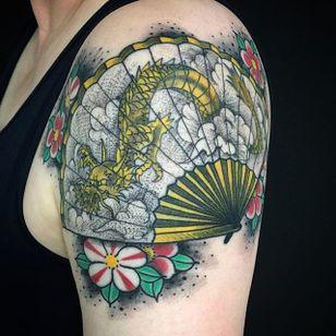 Fan Tattoo by Bonel Tattooer #fan #fantattoo #japanese #japanesetattoos #japanesetattoo #irezumi #irezumitattoo #BonelTattoo