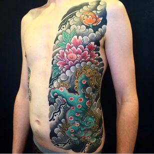 Foo Dog Tattoo by Bonel Tattooer #foodog #foodogtattoo #japanese #japanesetattoos #japanesetattoo #irezumi #irezumitattoo #BonelTattoo