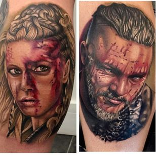 Lagertha and Ragnar tattoo by Chris Meighan #ChrisMeighan #ragnar #ragnarlothbrok #vikings #portrait #lagertha