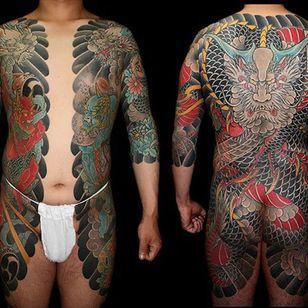 A brilliant bodysuit by Horitada (IG—horitadajapan) with a fearsome dragon centerpiece. #dragons #bodysuit #Horitada #Irezumi #oni #traditional