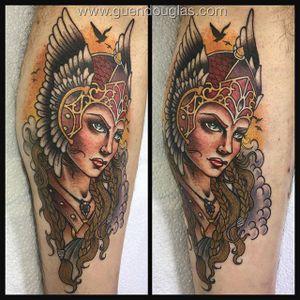 Viking by Guen Douglas (via IG-guendouglas) #viking #woman #ladyhead #neotraditional #color #GuenDouglas #girlsgirlsgirls
