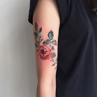 Dainty Watercolor Floral Tattoos by Amanda Wachob