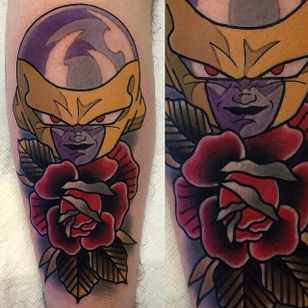 Frieza tattoo by Adam Perjatel. #AdamPerjatel #anime #dragonball #dbz #dragonballz #rose #traditional